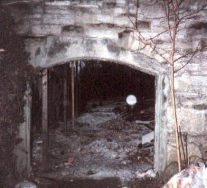 A lone globule floats through a passageway in the   basement.