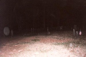 On October 8th, 1998, Alicia Haley and I visited Mr. Peet's grave and the photo below shows a globule on left. © 1999 Alicia Haley